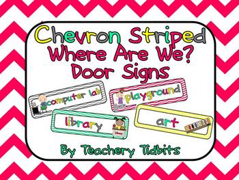 Chevron Where are we? Door Signs {pink, yellow, gray, and teal}