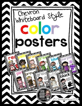 Chevron & Whiteboard Style Color Word Posters