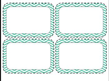 Chevron Word Cards Editable