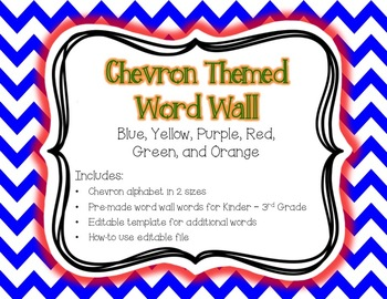 Chevron Word Wall {Editable Word Card Template} K-3