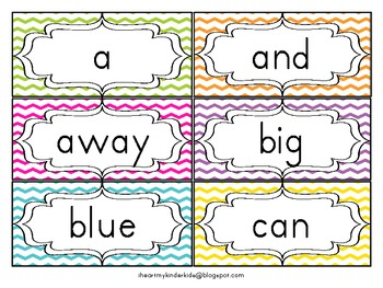 Chevron Word Wall ABC Headers and Dolch Pre-Premier & Premier Sight Words