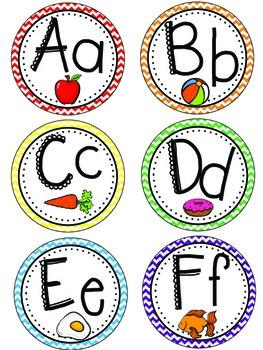 Chevron Word Wall Alphabet Headers & Sight Words