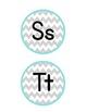 Chevron Word Wall Alphabet Labels (Gray & Teal)