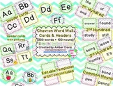 Chevron Word Wall Cards: 300 High Frequency Words + 100 Nouns