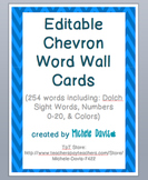 Chevron Word Wall Cards - Editable - Blue