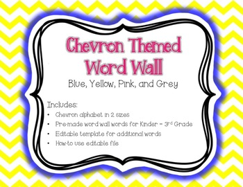 Chevron Word Wall {Editable Card Template Included} Blue, Yellow, Pink, Grey