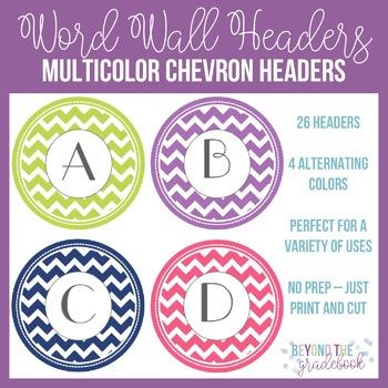 Chevron Word Wall Headers