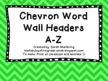 Chevron Word Wall Headers (Blue, Green, Purple, Turquoise)