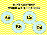 Chevron Word Wall Headers Mint