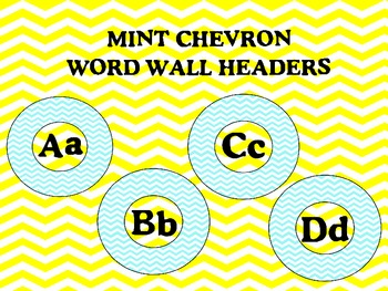 Chevron Word Wall Headers Mint