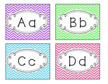 Chevron Word Wall Labels