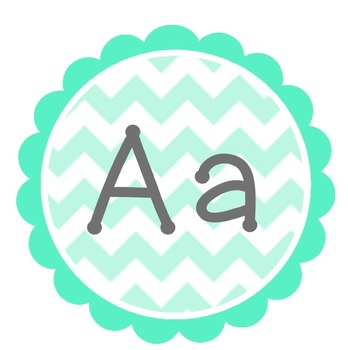 Chevron Word Wall Labels - Mint and Grey