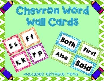 Chevron Word Wall Set (Editable)