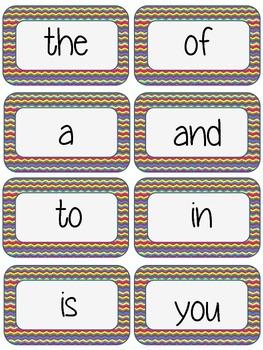 Chevron Word Wall Set - Fry's word list