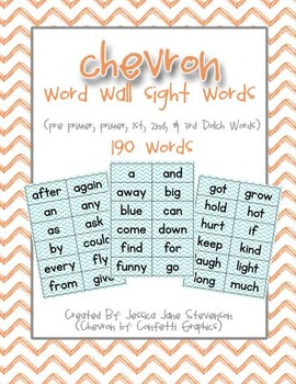 Chevron Word Wall Sight Words
