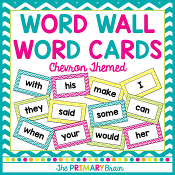 Bright Chevron Word Wall Word Cards - Fry Word Aligned