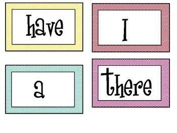1st grade Chevron Word Wall Words