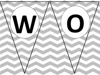 Chevron Word Wall Words  - Fry First 100 words in Grey
