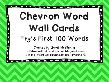 Chevron Word Wall Words (Fry's First 100)
