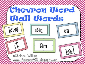 1st grade Chevron Word Wall Words
