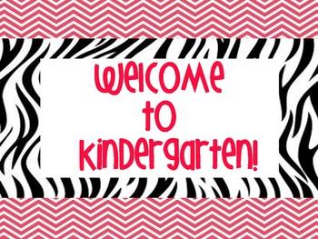 Chevron & Zebra Themed Welcome Signs for Grades Preschool-5th Grade