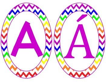 Chevron alphabet signs (rainbow)
