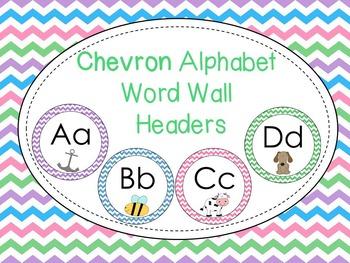 Chevron alphabet word wall headers