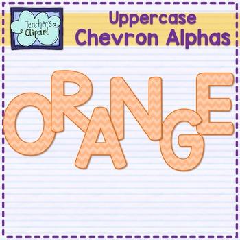 Chevron alphas letters {UPPERCASE - ORANGE}