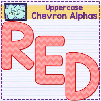 Chevron alphas letters {UPPERCASE - RED}