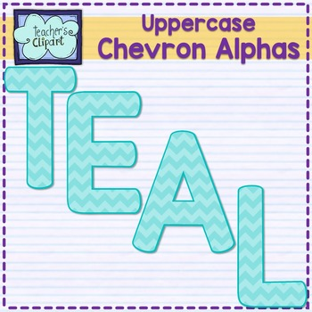 Chevron alphas letters {UPPERCASE - TEAL}