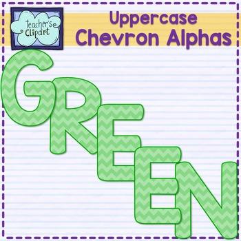 Chevron alphas letters {UPPERCASE - green}