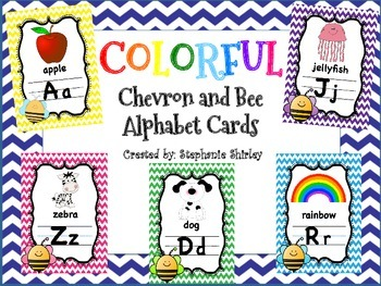 Colorful Chevron and Bee Alphabet Posters