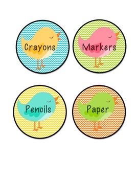 Chevron and Bird Labels