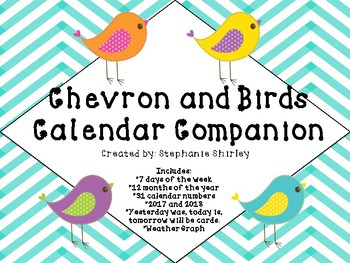 Chevron and Birds Calendar Companion