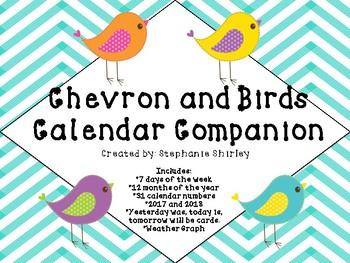Chevron and Birds Calendar Companion