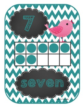 Chevron and Birds Ten Frames
