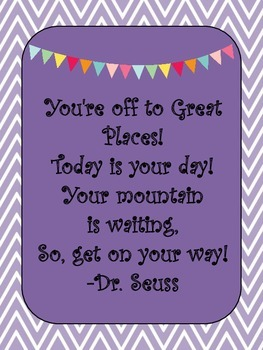 Chevron and Bunting Dr. Seuss Quotes