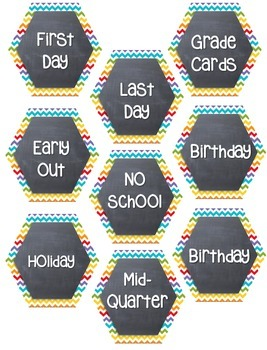 Calendar Number Cards, Hexagon, Chevron, Rainbow Chalk