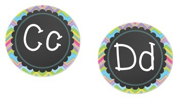 Chevron and Chalk board word wall letters