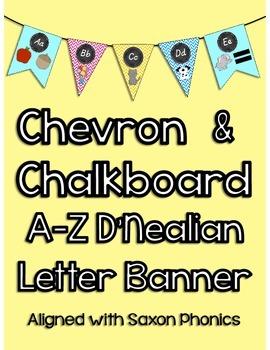 Chevron and Chalkboard A-Z D'Nealian Letter Banner