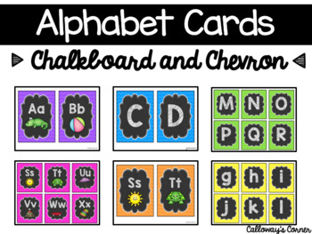 Alphabet Cards Chevron and Chalkboard