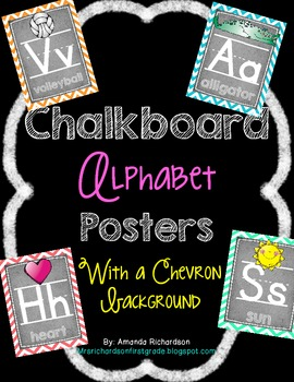 Chevron and Chalkboard Alphabet Posters