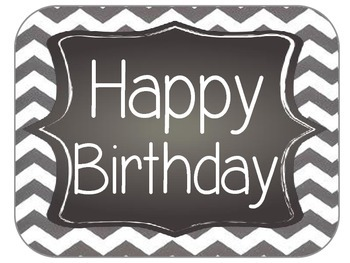 Chevron and Chalkboard Birthday Sign