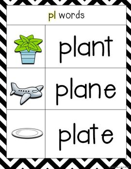 Chevron and Chalkboard **Blend & Digraph Posters and Charts**