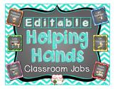 Classroom Jobs {Editable} Chevron and Chalkboard