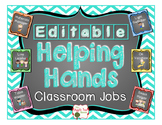 Classroom Jobs {Editable} Chevron and Chalkboard