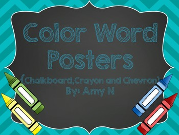 Color Word Posters (Chevron and Chalkboard Themed)