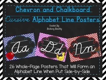 Chevron and Chalkboard Cursive Alphabet Line