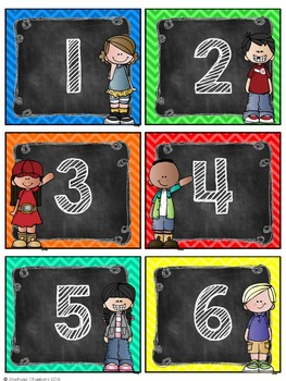 Chevron and Chalkboard Kids Number Labels: Editable, Organizational Tool