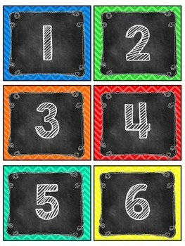 Chevron and Chalkboard Number Labels: Editable, Classroom Decor, Organization